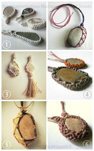 DIY 6 Macrame Wrapped Stone Tutorials from Ecocrafta.I've posted...