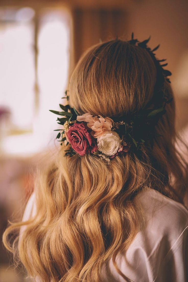 Soft waves and gorgeous flowers for your wedding day hair