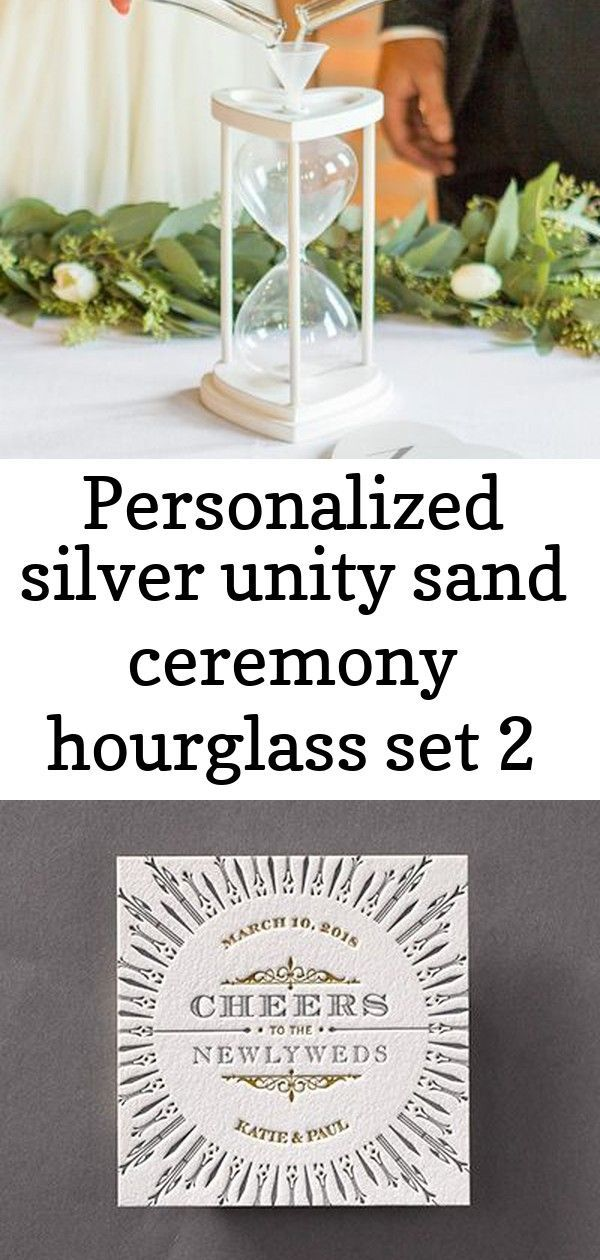 Personalized Silver Unity Sand Ceremony Hourglass Set 2 Ceremony Hourglass Personalized Unity Sand Ceremony Sand Ceremony Wedding Favor Printables