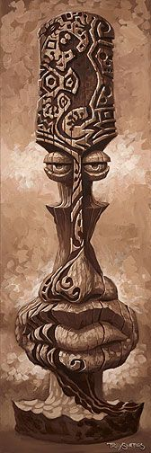 """Tattoo Head Tiki""  36x12 Original Oil  on Gallery Wrap Canvas"