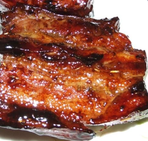 I cant remember where I found this recipe, but to me this is the best pork rib marinade out there. Honey and pork is a winning combination and these ribs are finger licking good.