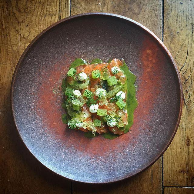 No 2 Gin cured salmon, charred cucumber dressing, gin jelly #instagood #photooftheday #igers #iphoneonly #instagramhub #picoftheday  #instahub #life  #iphonegraphy #food #foodporn #gastroart #chefstalk #TheArtOfPlating #chefsroll #chefsofinstagram