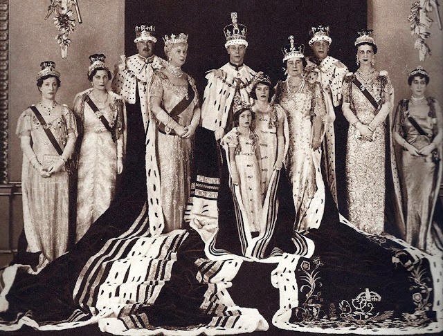 1937 ~ Official Coronation of King George VI (aka Albert or Bertie). The Royal Family pose in full robes & crowns. The future Queen Elizabeth II & Princess Margaret are in front of their parents.