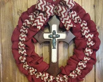 Items similar to Burlap teal and natural cross wreath with chevron ribbon on Etsy