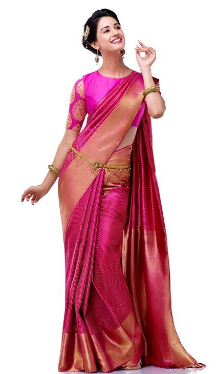 Pink and gold silk saree and blouse