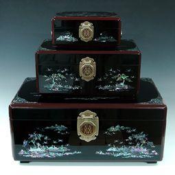 Korean Wooden Wedding Box (Ham) Set with Mother of Pearl Long Life Symbols