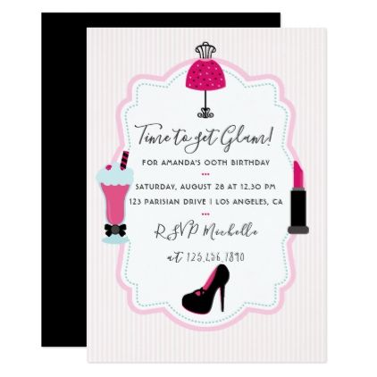 Glam Fashion Diva Birthday Party Invitation - birthday gifts party celebration custom gift ideas diy