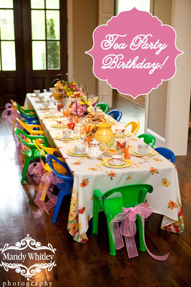 """Adorable Little Girl's Tea Party! Such a cute party idea. I love the """"hat station"""" where each girl decorated a plain straw hat with flowers, ribbons etc and put on plastic jewerly. So sweet!"""
