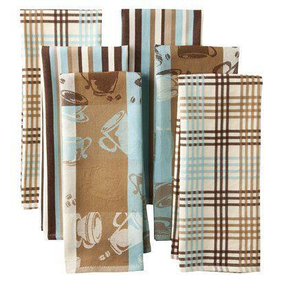 Egyptian Cotton Kitchen Towel Set Of 6   Blue/Brown