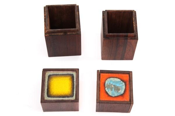 Petite Danish Rosewood & Enamel Boxes by Alfred Klitgaard