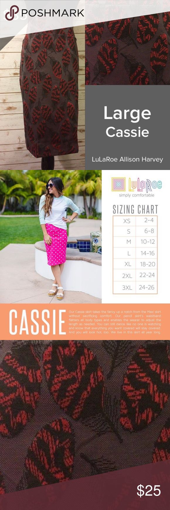 Large LuLaRoe Cassie Skirt - BNWT Never worn, perfect condition! Leaf print pencil skirt - 97% polyester, 3% spandex. Less stretchy than the average LLR Cassie. Maroon-ish gray background, super pretty and unique! LuLaRoe Skirts Pencil
