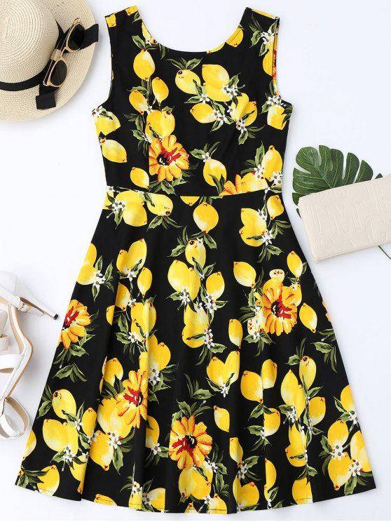 Lemon Print Sleeveless Flare Dress - BLACK M