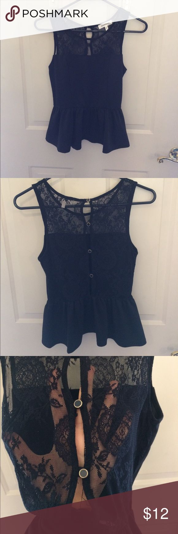 Black lace peplum top Gorgeous black peplum top with full lace back and button up detail. Absolutely stunning! Monteau Tops Tank Tops
