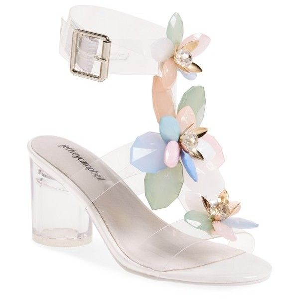 Women's Jeffrey Campbell Viola Sandal ($130) ❤ liked on Polyvore featuring shoes, sandals, clear pastel multi, blossom footwear, clear shoes, jeffrey campbell shoes, jeffrey campbell and transparent sandals