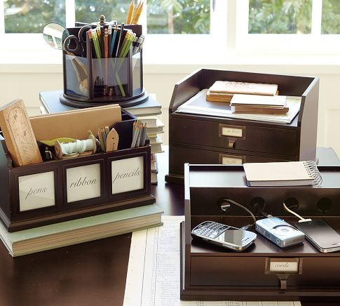 For the top of the desk: Accessories Potterybarn, Paper Organizations, Desk Accessories, Kitchens Counter, Home Offices, Pottery Barns, Offices Supplies, Bedford Desks, Desks Accessories