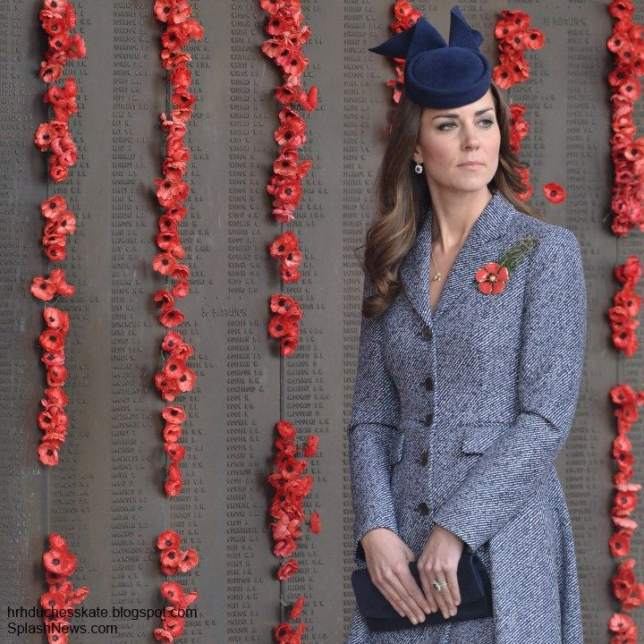 duchesskate:  Cambridge Royal Tour-Day 16, Canberra, Australia, April 25, 2014-The Duchess of Cambridge attended Anzac Day services at the War Memorial in Canberra.  She is shown here by the WWI Memorial Wall decorated with poppies.  The Duchess wore a pin presented to her by Emma Roberts-Smith, wife of Victoria Cross for Australia recipient Ben Roberts-Smith.