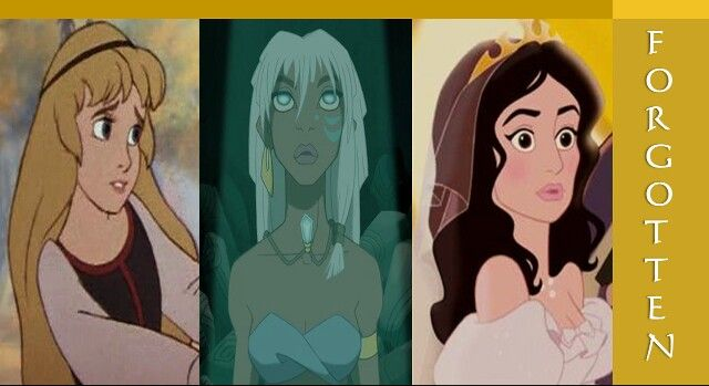 Disney Forgotten Princesses: Eilonwy, Kida and Nancy (though Giselle is usually forgotten too!)