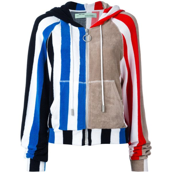 Off-White - stripe panel hoodie - women - Cotton - M ($720) ❤ liked on Polyvore featuring tops, hoodies, blue, sweatshirt hoodies, cotton hoodie, hooded zip sweatshirt, blue hoodie and blue hooded sweatshirt