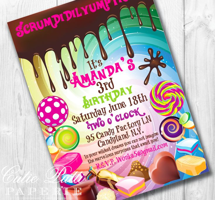 Willy Wonka Party, Candy Party - PRINTABLE CUSTOMIZED INVITATION - Cutie Putti Paperie. $15.50, via Etsy.