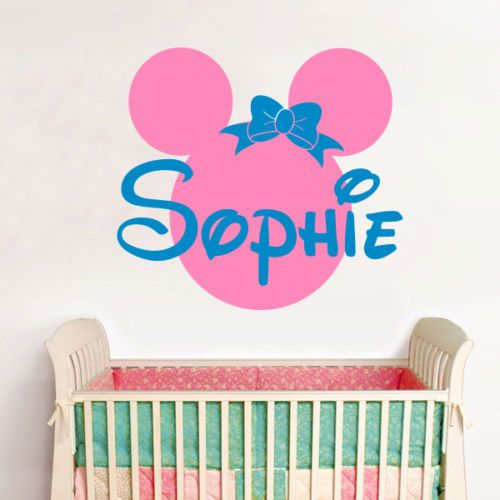 Personalized Name Minnie Mouse Vinyl Wall Stickers Baby Wall Decals Pink Wall  Stickers For Kids Room Part 98