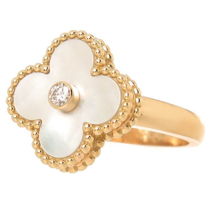 Van Cleef & Arpels Alhambra Ring | From a unique collection of vintage cocktail rings at https://www.1stdibs.com/jewelry/rings/cocktail-rings/