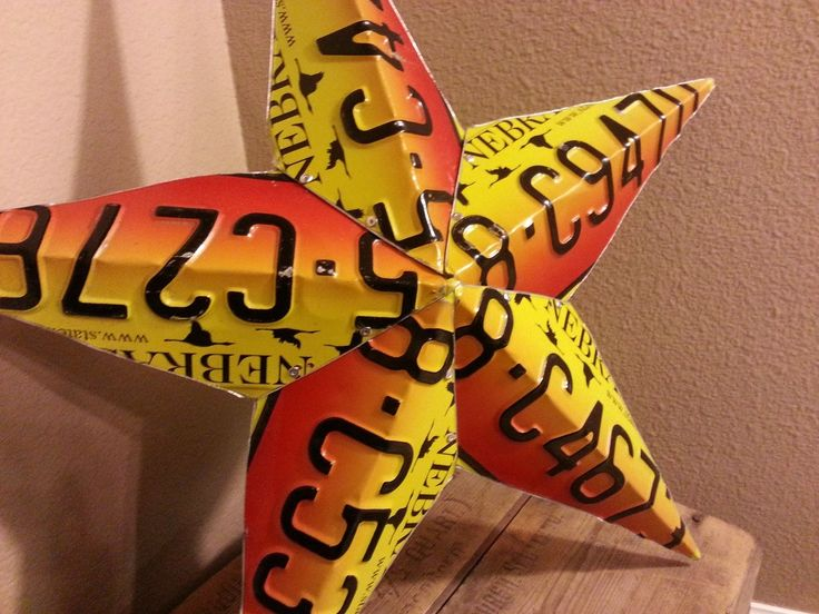 how to make a star out of old license plates - Google Search                                                                                                                                                     More