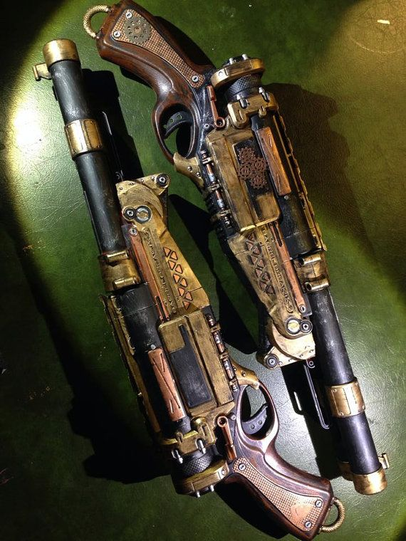 Double Barrel Airship pirate pistol Spray painted nerf gun steampunk prop gun cosplay