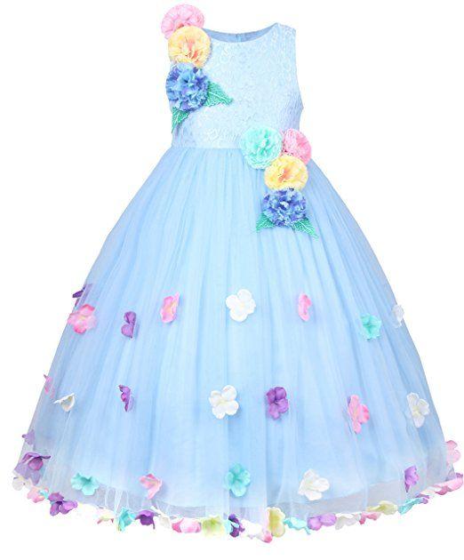 JerrisApparel Mädchen Prinzessin Hochzeit Festzug Blume Blütenblatt Kleid (140cm, Blau)