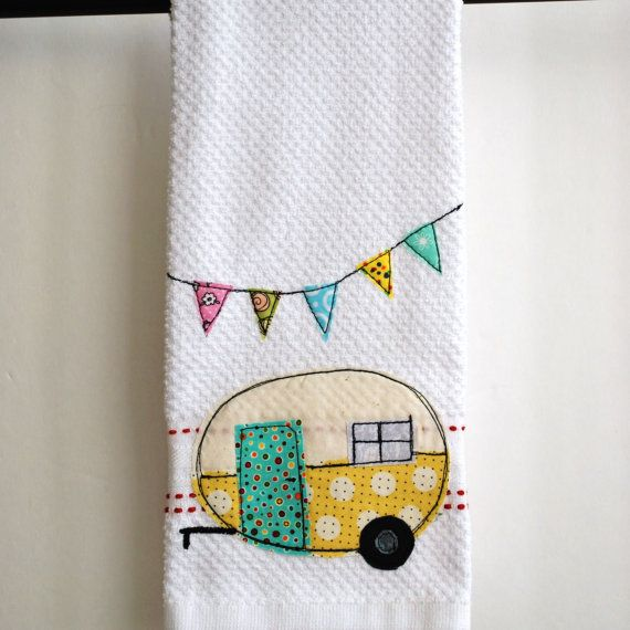 Vintage Camper Trailer Tea Towel by CreativeJunkee on Etsy, $16.00