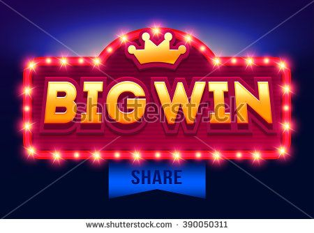 Retro sign with lamp Big Win banner. Vector illustration design with poker, playing cards, slots and roulette. - stock vector