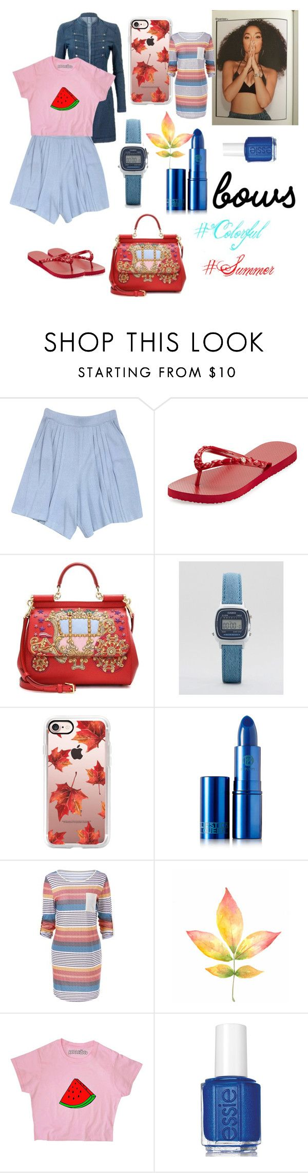 """""""Untitled #506"""" by alinaa191 ❤ liked on Polyvore featuring St. John, Tory Burch, Dolce&Gabbana, Casio, Casetify, Lipstick Queen and Essie"""