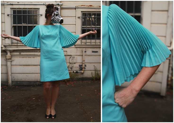 Vintage Baby Blue Shift Dress with Pleated Accordion Fan Sleeves.