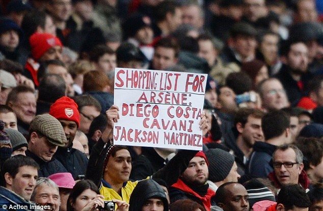 Costa, Cavani – Arsenal fans at the Emirates tell Wenger who to buy in January [PHOTO]