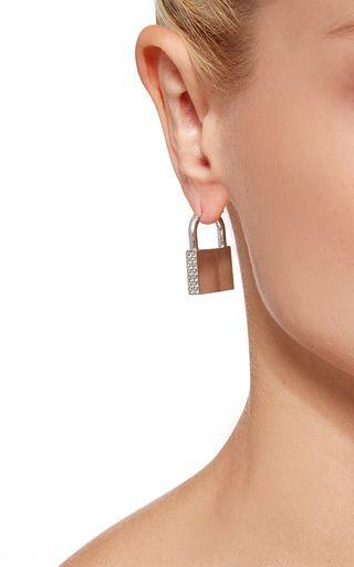 Single Padlock Earring With Diamonds by Lauren Klassen for Preorder on Moda Operandi