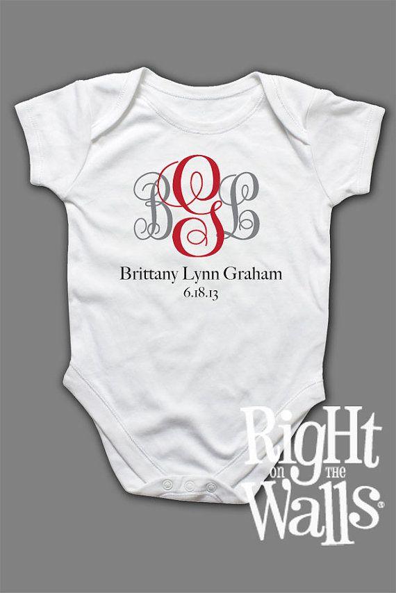 Baby Onesie Fancy Monogram Letters Custom by RightOnTheWalls, $14.95