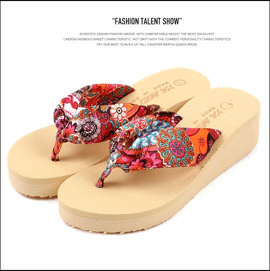 2016 Summer bohemia flower Women flip flops platform wedges women sandals platform flip slippers beach shoes
