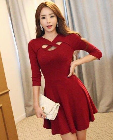 2014秋大码新款韩版女装七分袖收腰修身显瘦大摆性感连衣裙-淘宝网