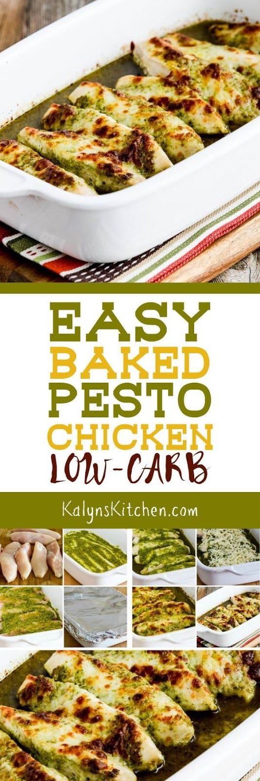 Easy Baked Pesto Chicken is a delicious low-carb dish that's also Keto, low-glycemic, gluten-free, and South Beach Diet friendly. And kids have been known to gobble this up, so it can definitely be kid-friendly as well! Serve with pasta for the kids and with cauliflower rice for the carb-conscious eaters.  [found on KalynsKitchen.com] #EasyLowCarbChicken #LowCarbChicken #EasyBakedChicken #EasyPestoChicken #LowCarbPestoChicken