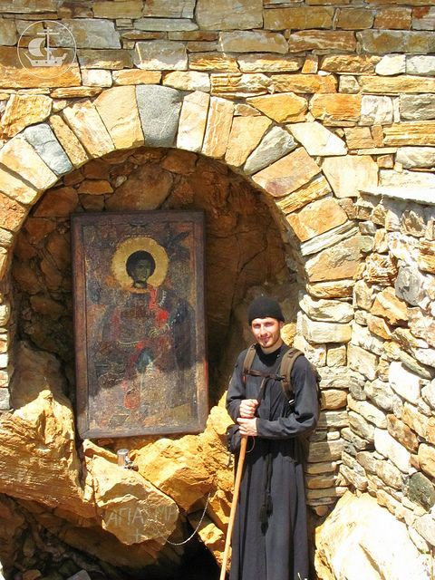 The Icon of St. George and Monk.. on Mount Athos