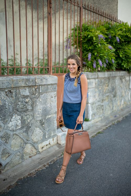 7.15 amboise (Old Navy chambray top + Old Navy denim skirt + K. Jacques sandals + Fendi bag + Illesteva sunnies)