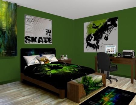 Skateboard green bedroom theme featured at http www for Blue and green girls bedroom ideas