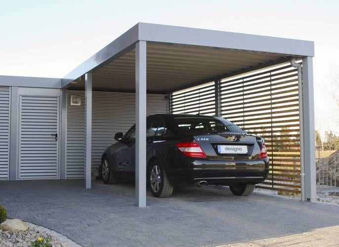 Der elegante Design-Carport ist mit einem großzügigen Geräteraum ausgestattet…