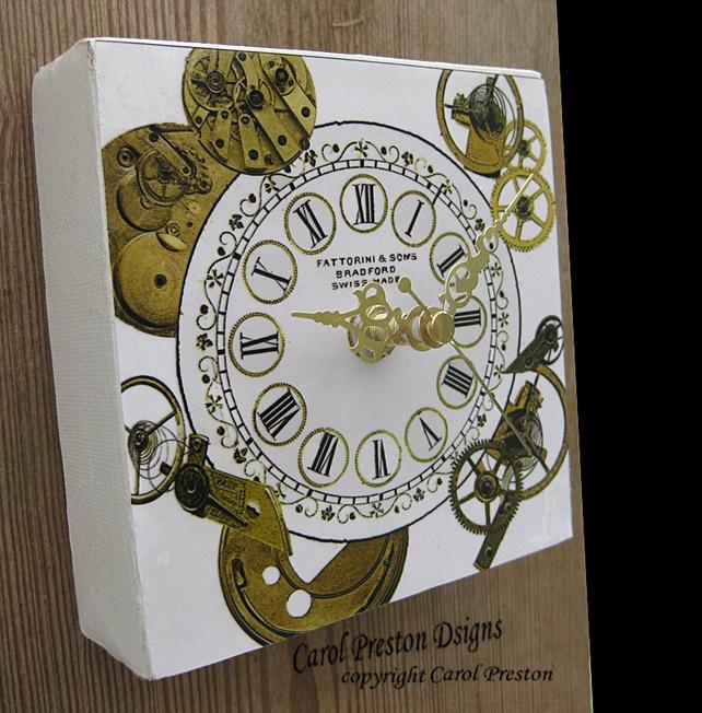 Handmade Clock Steampunk Decoupage Stylish Black and Gold £14.95