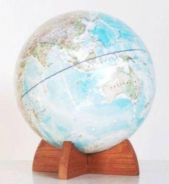 WORLD GLOBE ASH WOOD BASE