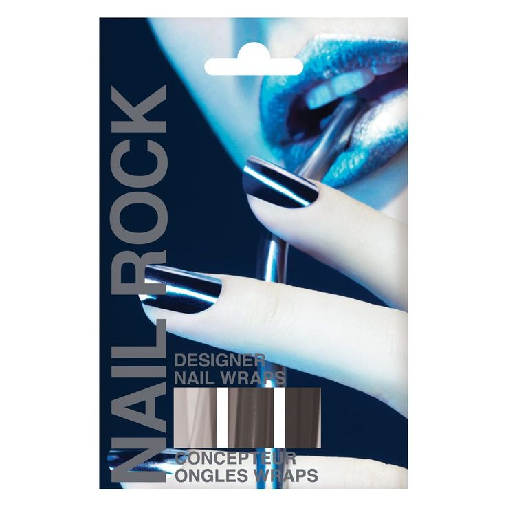 Rock Beauty Nail Rock Wraps Metallic Silver 1 Kit