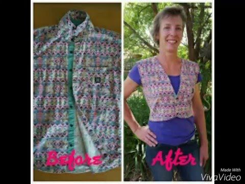 Mens Shirt to Ladies Vest - easy upcycle clothing For more project ideas visit www.craftsjinspired.blogspot.com.au #Upcycle #recycle #oldtonew #shirt #vest #sewing #clothing #trendy #fashion