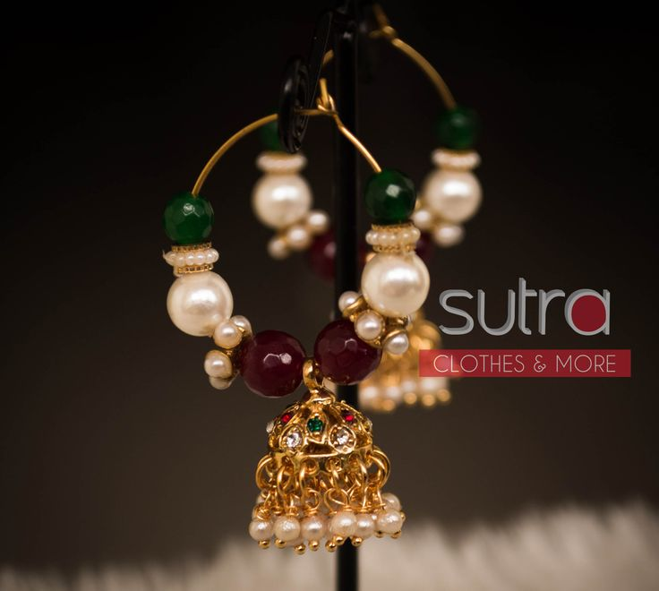 Basic indian jhumki baali with pearls & red/green colored beads  http://on.fb.me/1nUNz6l
