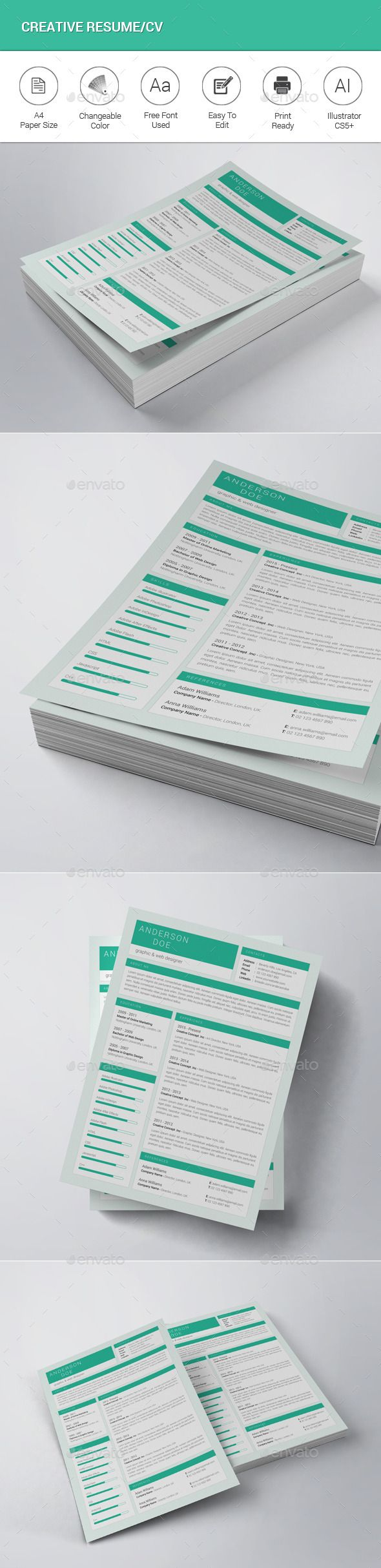 Creative Resume / CV Template #design Download: http://graphicriver.net/item/creative-resumecv/12682019?ref=ksioks