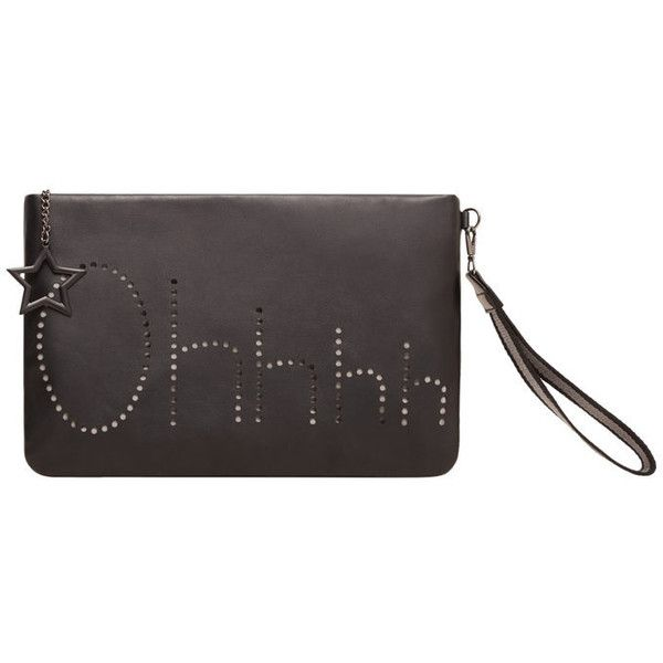 MANGO Engraved Message Clutch (75 SAR) ❤ liked on Polyvore featuring bags, handbags, clutches, perforated handbags, star purse, perforated purse, mango handbags and mango purse