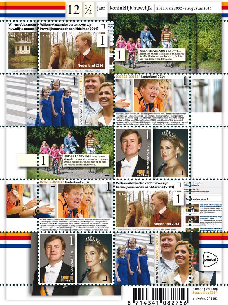 12 1/2 jaar koninklijk huwelijk Het postzegelvelletje 12,5 jaar koninklijk huwelijk staat in het teken van de koperen bruiloft van Koning Willem-Alexander en Koningin Máxima. Hun huwelijk werd gesloten op 2 februari 2002